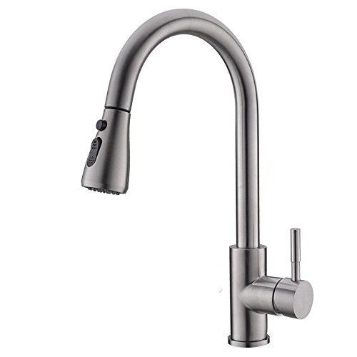 Commercial Single Lever Pull Down Kitchen Sink Faucet Brass Constructed Polished Kitchen Faucet   304 Stainless Steel Pull Faucet   Telescopic Sink Faucet
