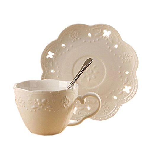 WHITE Floral Relief Coffe Cup Beautiful Tea Mug Set With Plate&Spoon