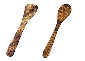 "Le Souk Olivique Olive Wood Utensils Bundle - 1x12"" Curved Olive Wood Spatula and 1x12"" Olive Wood Spoon"