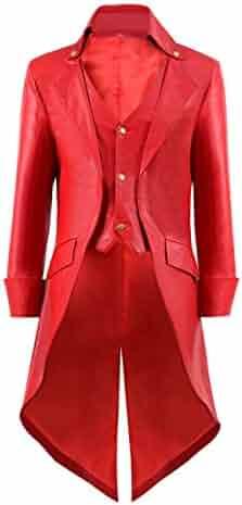 0f70eb9bb6b3 BelieveME Kid s Steampunk Jacket Tailcoat Gothic Costume Halloween PU Long  Coat