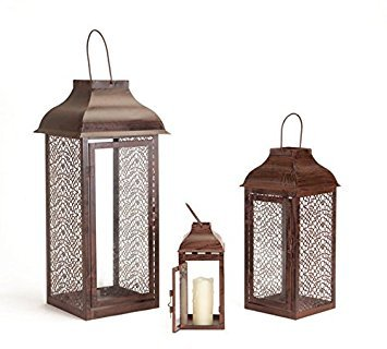 Metal Lantern with Decorative Glass, Set of 3