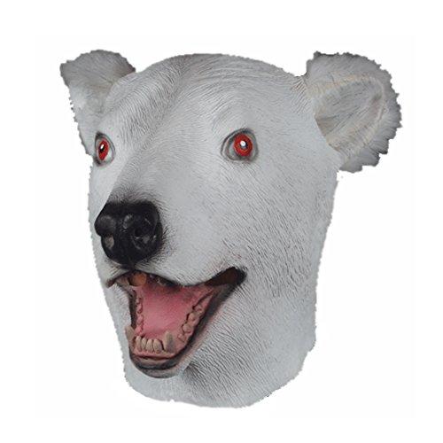 Polar Bear Mask (Latex Full Head POLAR BEAR Mask w/ Faux Fur)