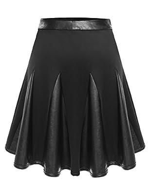 Zeagoo Women's Basic Leather Patchwork A-Line Short PU Skater Skirt