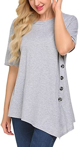 Sweetnight Women's Casual Scoop Neck Short Sleeve Solid Asymmetrical Pleated T-Shirt Blouse Top Plus Size
