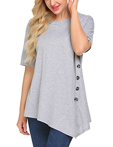 Sweetnight Women's Casual O-Neck Short Sleeve Solid Asymmetrical Pleated T-Shirt Blouse Top Plus Size (XXXL, Gray)