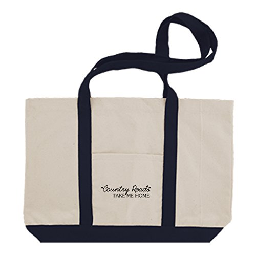 Cotton Canvas Boat Tote Bag Country Roads Take Me Home Style In Print Navy