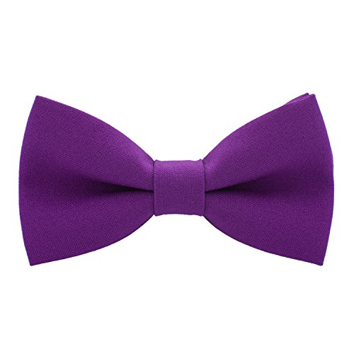 Classic Pre-Tied Bow Tie Formal Solid Tuxedo, by Bow Tie House (Medium, Violet)
