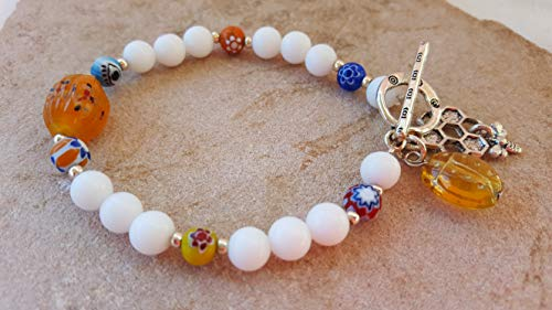 (Bracelet One-Of-A-Kind White Stone & Multi-Colored Glass Lampwork Beads Silver Spacer Beads Stretch W/Silver Toggle Silver Metal Honeycomb W/Dangling Bee Charm Amber Glass Ladybug Charm #260 )
