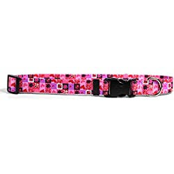 """Yellow Dog Design Valentines Blocks Dog Collar with Tag-A-Long ID Tag System-Medium-3/4 Neck 14 to 20""""/4"""""""