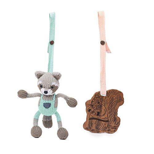Finn + Emma | Stroller Toys | Baby Unisex | Ramsay the Raccoon & Matilda the Squirrel | 100% Organic & Eco-Friendly