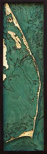 - Outer Banks, North Carolina 3-D Nautical Wood Chart, 13.5