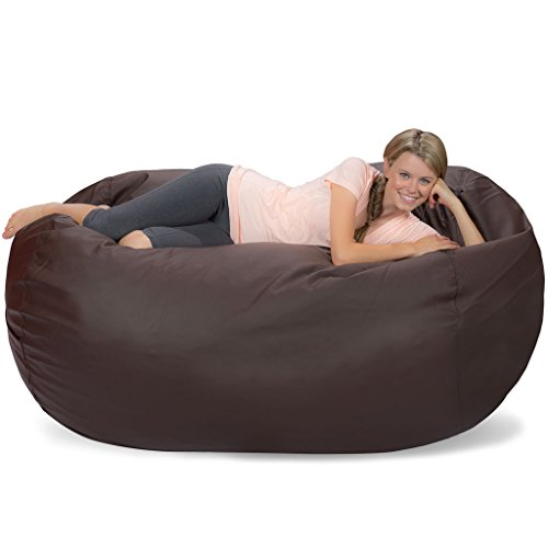 Comfy Sacks 6 ft Lounger Memory Foam Bean Bag Chair, Brown Faux Leather (Chairs Leather Faux Bean Bag)