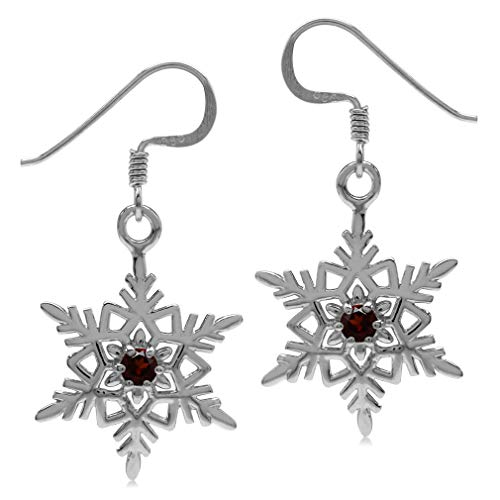 (Natural Garnet White Gold Plated 925 Sterling Silver Snowflake Dangle Hook Earrings)
