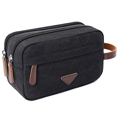 (Mens Travel Toiletry Bag Canvas Leather Cosmetic Makeup Organizer Shaving Dopp Kits with Double Compartments)