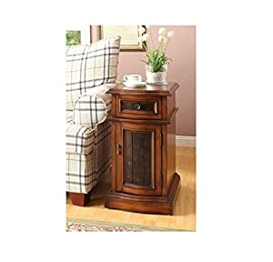 William's Home Furnishing 4820 Oak Side Table, Brown