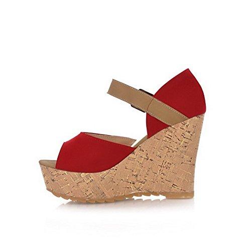 Toe Wedges Platforms Buckle Womens AllhqFashion Suede Heels Red Open amp; Imitated High twvABnpq8B