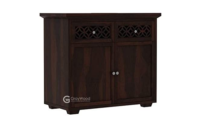 RjKart Solid Sheesham Wood Sideboard Cabinet Console Table with Drawers Color   Walnut Finish Cabinets   Sideboards