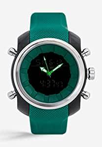 Mon Grandeur Mens Analog Digital Watch Strap Material Polyurethene with Green Color and Dial color Black/Green GR-GF12008-Green