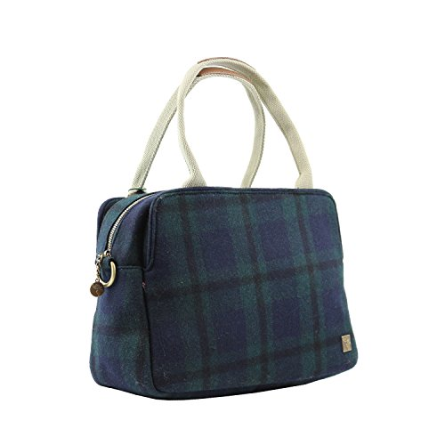 Tweed Tote Day Bag Blue Green Check