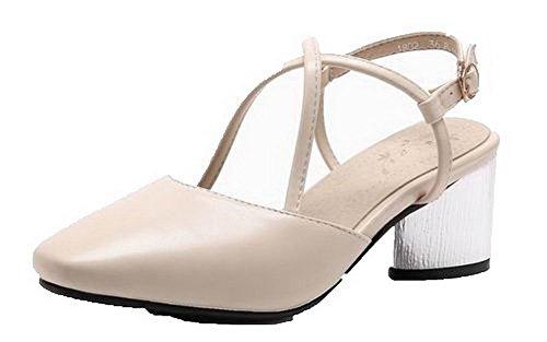 Correct Talon Couleur à PU Beige AgooLar Cuir Sandales Unie Boucle Femme GMBLB014101 wqaUHx08n