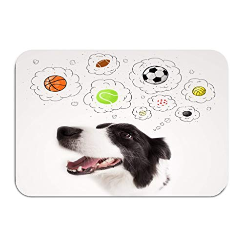 Her Border - qilifz Outside Shoe Non-Slip Color Dot Doormat Cute Dog Balls Thought Bubbles Black White Border Collie Thinking Above her Head Mats Entrance Rugs Carpet 16 24 inch