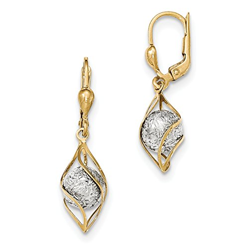ICE CARATS 14k Two Tone Yellow Gold Drop Dangle Chandelier Leverback Earrings Lever Back Fine Jewelry Gift Set For Women Heart