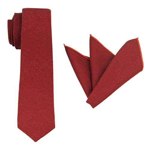 Mens Charm Various Plain Wool Tie Set:Necktie with Matching Pocket Square -