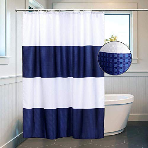 White & Navy Blue Shower Curtain Liner Waffle Waterproof Polyester Bathroom Curtains with 12 Hooks Mildew Resistant Machine Washable 72 x 72 inch