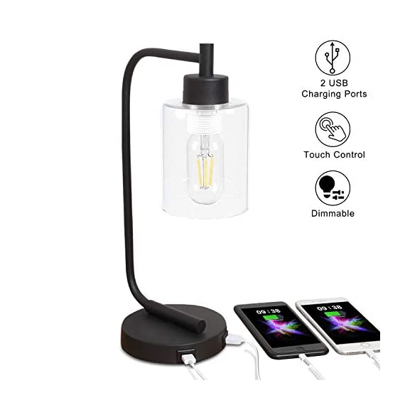 Innqoo Touch Control Table Lamp, 3 Way Dimmable Industrial Desk Lamp with USB Charging Ports, Modern Nightstand Lamp, Metal Bedside Lamp for Dorm, Bedroom, Living Room (ST64 Vintage Bulb Included) - 🎁【3 Way Dimmable Touch Control Design】- Touch bedside lamp with 4 settings (Low, Medium, High, Off), The Low setting is perfect for nightstand mode, the Medium setting suitable for daily use and High setting is very bright for reading mode. This touch-sensitive lamp can be easily controlled over by people of all ages.(We suggest you use the vintage T45 Bulb, it is the best match to our touch table lamp) 🎁【Dual Usb Charging Ports】- The Industrial desk lamp is convenient for phones, power banks or other devices charging with dual USB charging ports, reducing the use of socket plug as well greatly promote the use of space.(It is a perfect gift for your friends and family on Black Friday, Cyber Monday) 🎁【Minimalist Industry Design】- The bedside table lamp features a heavy-duty tubular metal body and base, is designed with minimalist industry style. Easy to attract guest's attention and perfect for bedroom, living room or coffee room or any places. - lamps, bedroom-decor, bedroom - 41vFVFHZr2L. SS570  -