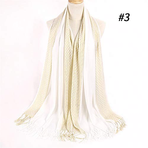Solid Color Gold Silk Polyester Cotton Scarf With Tassel Scarf Sunscreen Shawl 3# 55x180cm ()