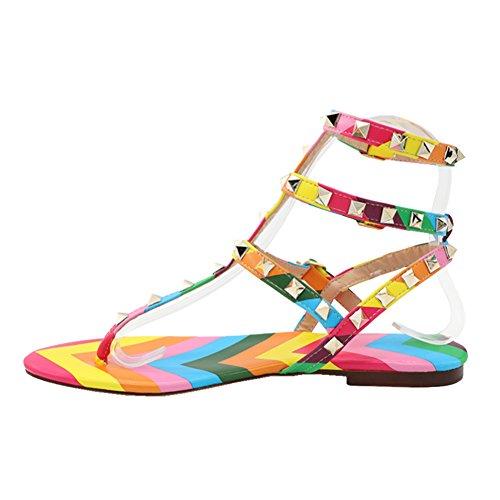 EKS Women's Flats Sandals Rivets Studs Open Toe Straps Summer Flats Shoes Mixed Color With T-straps AzxY19b