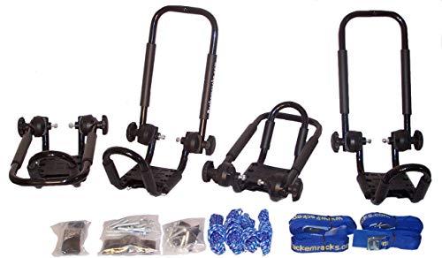 (Pack'em Folding J-style Kayak Rack Automobile Roof Top Rack Racks - 2 Sets - Satin Black)