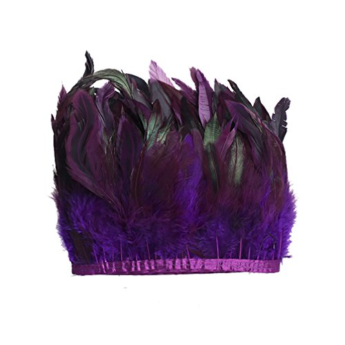 AWAYTR Rooster Feather Fringe Trim for Crafts Width 5-7