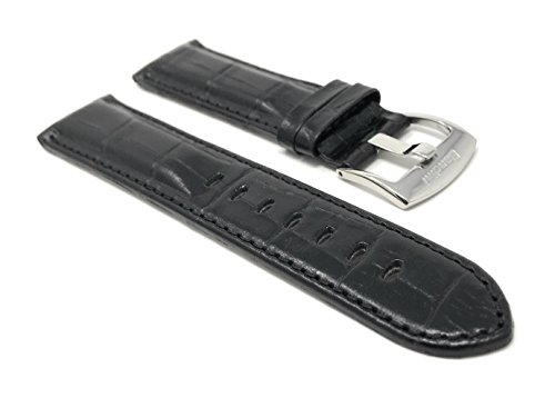 Mens' 22mm Black Alligator Style Genuine Leather Watch Band Strap, Glossy