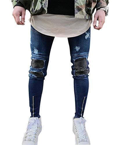 Denim Trousers 31 Pantalones Pants Leisure Cómodo Jeans Hombres Battercake Rasgados Vintage Elásticos Fashion Ssige Flacos Hole Mezclilla Los De zqddHwxUT