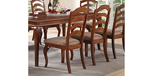 Set of 2 Traditional Oak Finish Dining Chairs with Upholstered Seat and Ladder Back Design