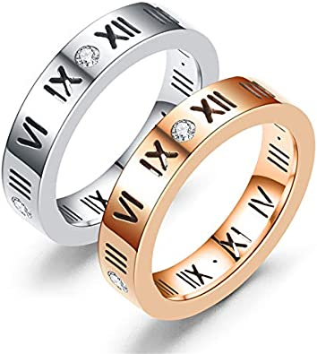 FOTTCZ Ring 4mm Carbon Steel Band 1pcs Engagement Ring Carving Roman Numeber on Surface and Embedded Imitation Diamond Comfort Fit Wedding Bands Ring