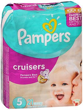 Pampers Cruisers Diapers 3-Way Fit Jumbo Size 5, 27+lb - 4 Packs of 21, Pack of 3