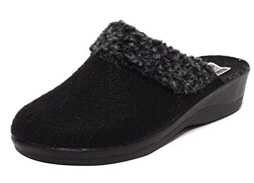 Damen Filz Hausschuhe Wörishofer Slipper Schuhe Pantoletten Pantoffel Komfortschuhe SCHWARZ Gr. 37 - 39