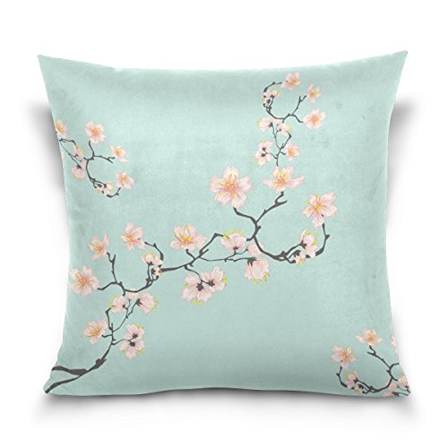 Hokkien Blue Viper Beautiful Cherry Blossoms Decorative Square Throw Pillow Case Cushion Cover for Sofa Bedroom Car Double-Sided Design 16 x 16 inch