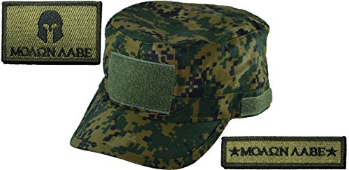Digital Woodland Camo Adjustable Fatigue Cap and Molon Labe Set Patch Olive Drab