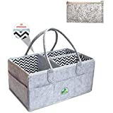 Diaper Caddy – Baby Diaper Purse – Sturdy Storage Bin for Essential Baby Items – Ultra Large Diaper Caddy Changing Pad – Unisex Cotton Baby Caddy with Handles – Ideal Present for Baby Shower