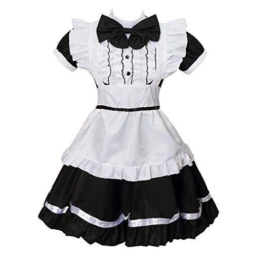 Colorful House Women's Cosplay Cat Ear French Apron Maid Fancy Dress Costume (Large, Black) -