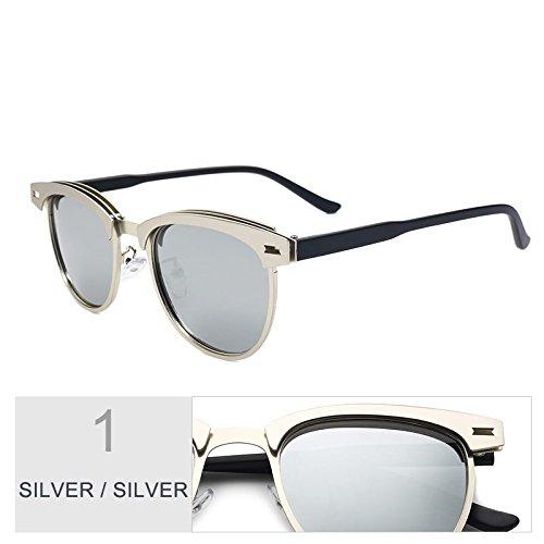 La Gafas Sol Semillas Bastidor Reborde Mujer Del Modo Alta Silver De Calidad Sol TIANLIANG04 Polarizadas De Silver De De Oro Gris Aleación Sin Gafas De PI6qzWdt7