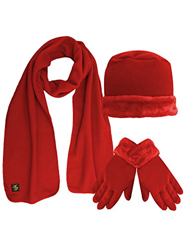 Red Plush Fur Trim Fleece 3 Piece Hat Scarf & Glove ()