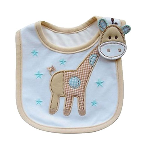 Cute Cartoon Pattern 3 Layer Toddler Baby Waterproof Saliva Towel Baby Bibs (Giraffe Pattern 2)