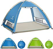 SGODD Large Pop Up Beach Tent New Large Anti UV Sun Shelter Tents Portable Automatic Baby Beach Tent Instant E