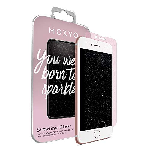 MOXYO - Showtime Glitter Glass Screen Protector Compatible w/Apple iPhone 6+/6s+/7+/8+ (Plus), Glitter-Infused Tempered Glass Screen Protector for The Apple iPhone 6 Plus/6s Plus/7 Plus/8 Plus (Pink)