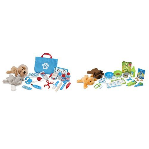 Melissa & Doug Plush Pet Care 2-Pack - Pet Vet (24 pcs), Feeding and Grooming (24 pcs)]()