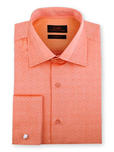Steven Land Men's Dobby Dots Dress Shirt Trim Fit Long Sleeve French Cuff Cotton Peach (Cotton Dobby Dress Shirt)